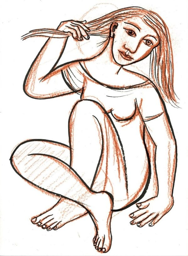 drawing of a woman sitting with crossed legs