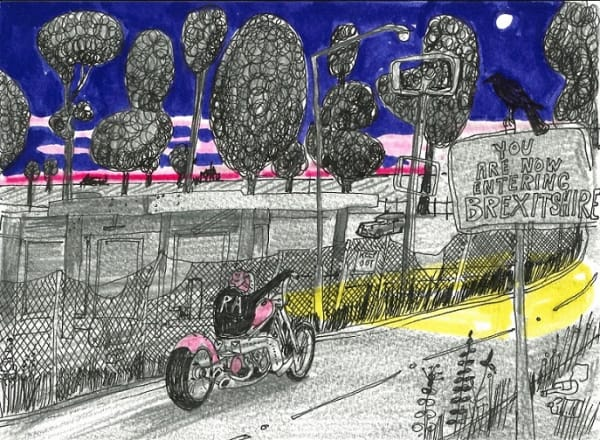 drawing of a person on a motorbike riding past trees and fencing