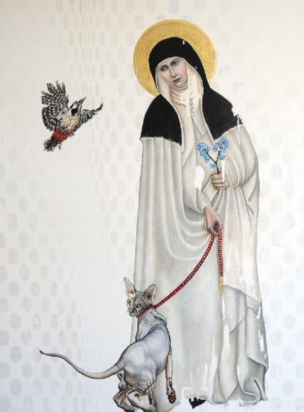 painting of a woman with halo with bird and hairless cat on lead