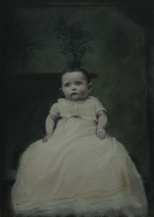 painting of baby girl in christening dress with plant coming of her head
