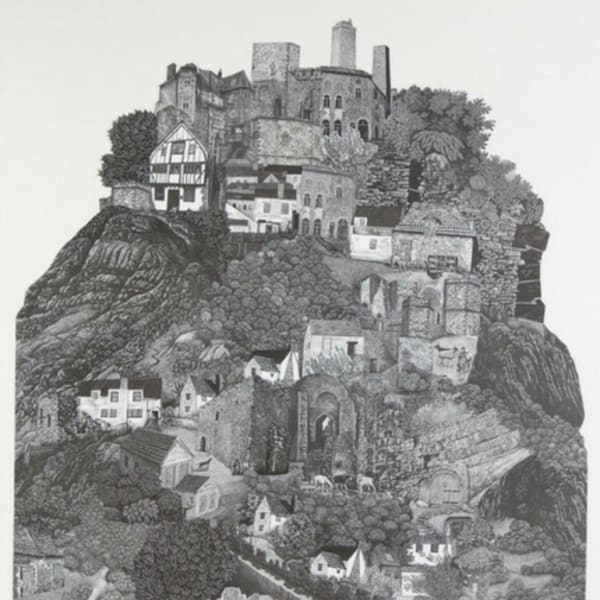 black and white drawing of a hilltop with buildings