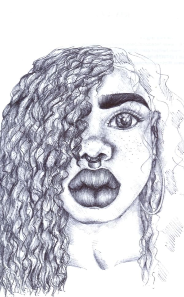 black and white drawing of a woman with long curly hair