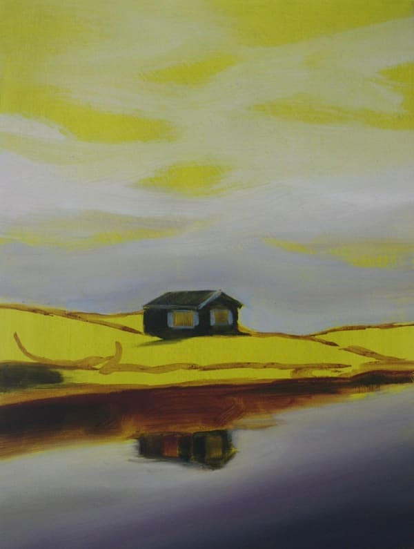 painting of hut in yellow landscape