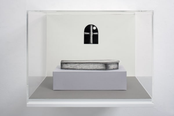 fine line drawing of a coffin in front of a gothic window