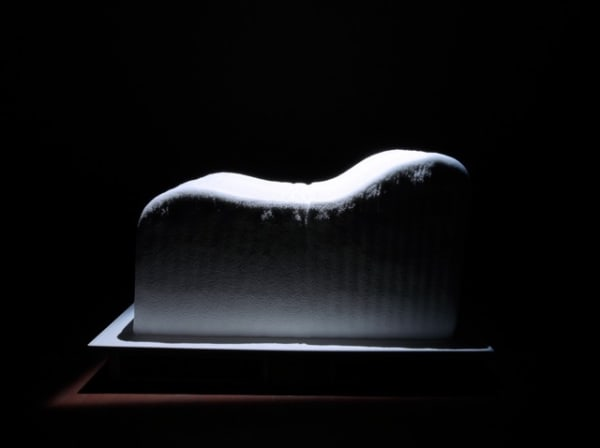 black and white image of a couch like structure