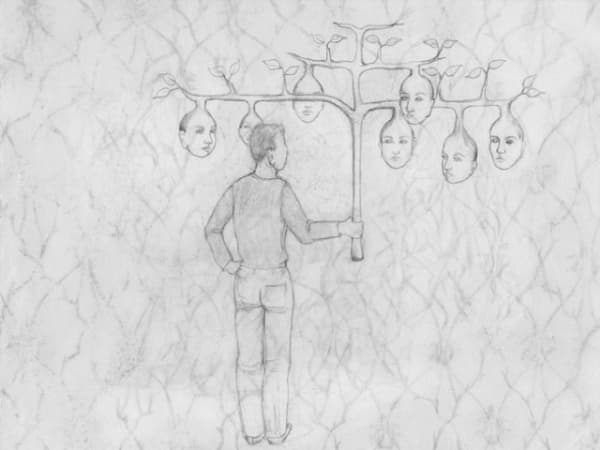 fine line drawing of a person holding a a tree with faces on it