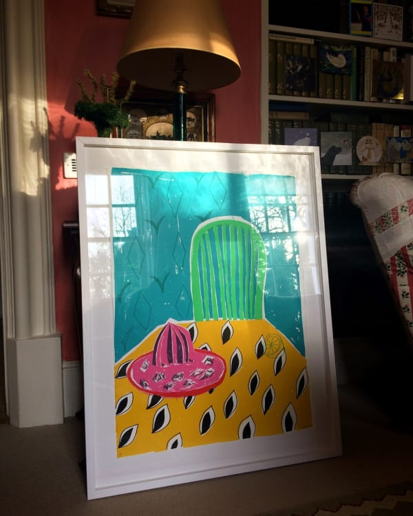 brightly coloured print by rose electra harris