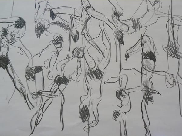 sketches of acrobatic performer
