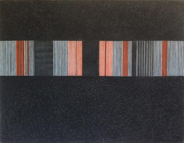 dark drawing with coloured lines bisecting middle