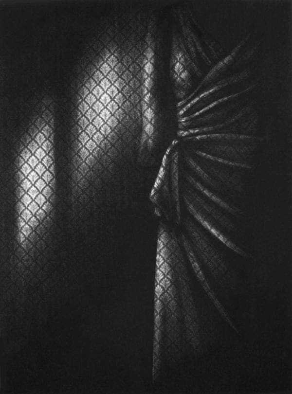 dark black and white drawing with wallpaper and light shafts