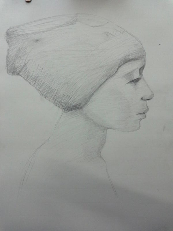 pencil drawing of woman in headscarf in profile