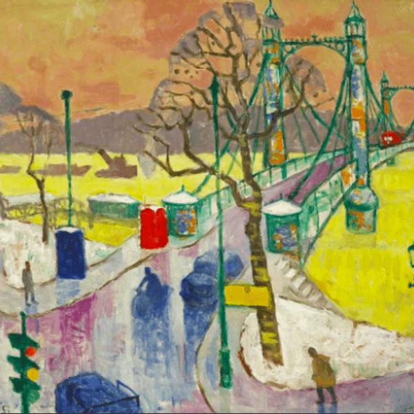 Julian Trevelyan, Albert Bridge, oil on canvas, 60 x 72.5cm