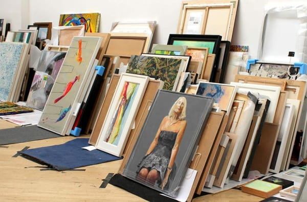 artworks stacked against the wall during RWA selection day