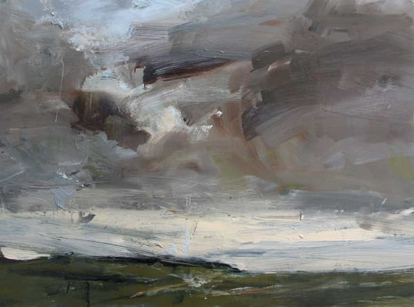 oil painting of landscape with stormy sky