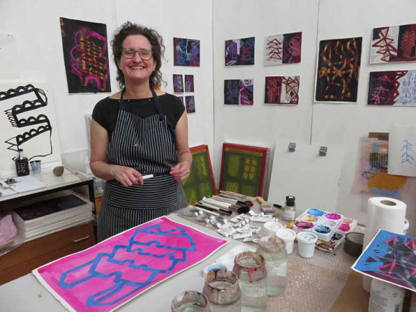 artist Lucy Austin in her studio
