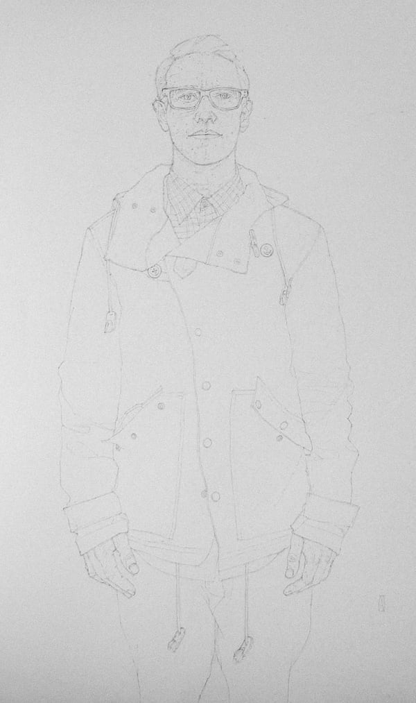 pencil drawing of man in a raincoat