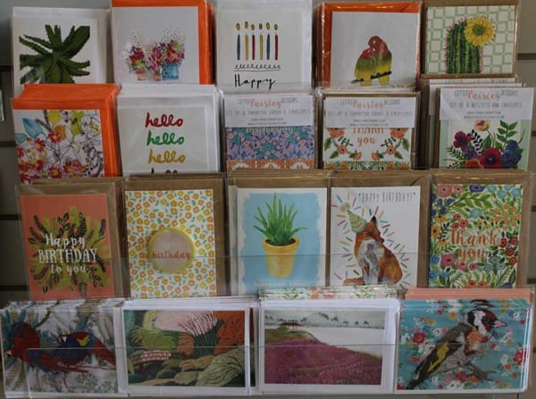a display of greetings cards
