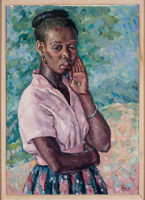 portrait of a black woman in pink shirt and floral skirt