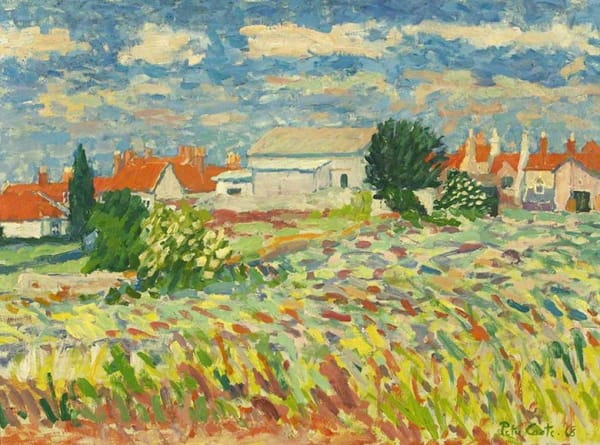 painting of summer fields and buildings