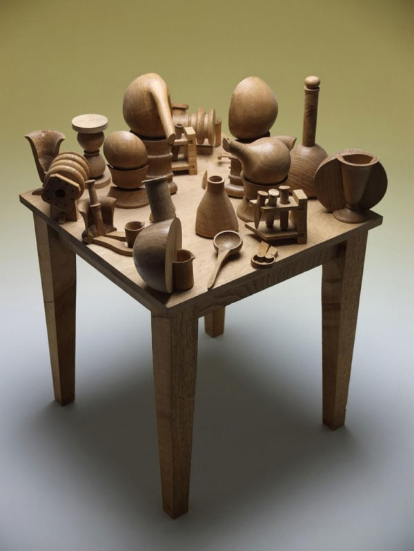 table with with implements on