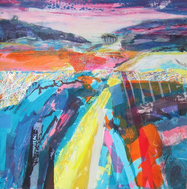 coloured landscape monoprint