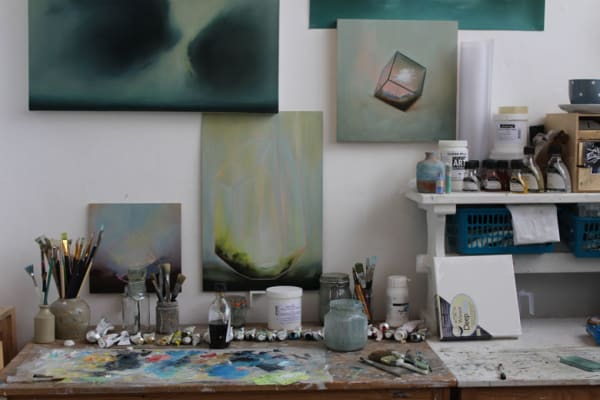 photo of the desk and studio space