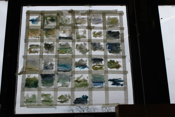 close up photo of some work on the studio window
