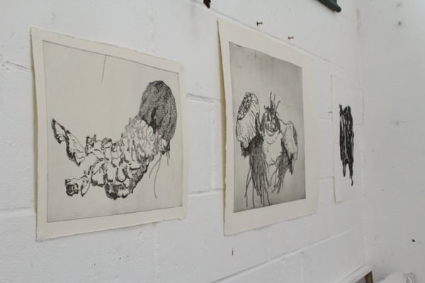 photo of work on the wall of alice freeman's studio