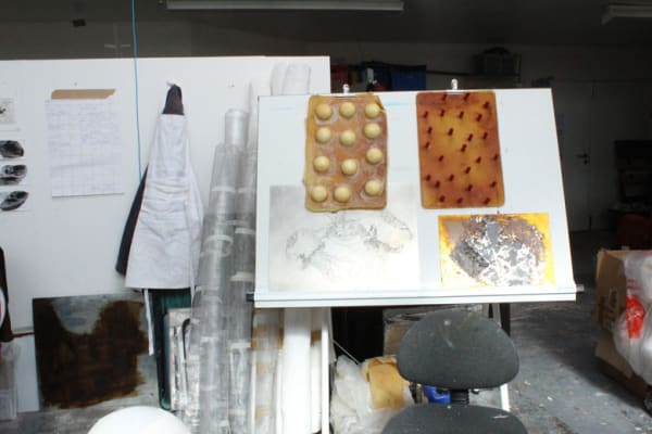 photo of some work in Alice Freeman's studio