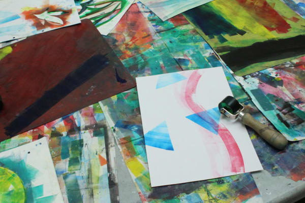 photo of some monoprinting work on a table