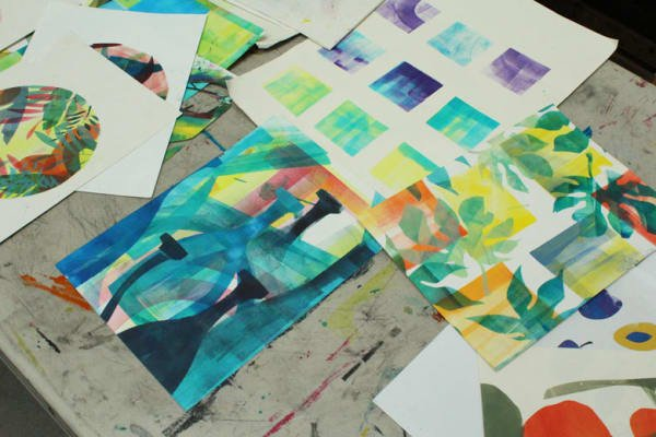 photo of some monoprinting work by sophie rae on a table