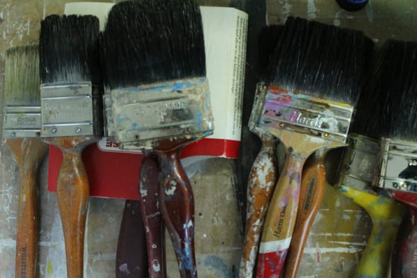 photo of a close up of some of stewart geddes' paintbrushes