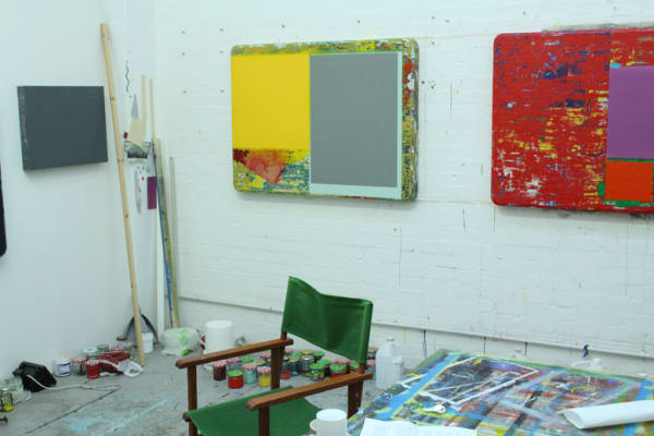 photo of paintings on the wall in stewart geddes studio