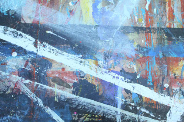 photo of a close up of a painting in stewart geddes studio