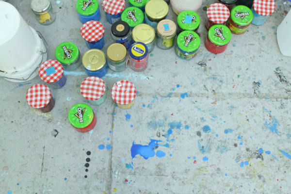photo of jars on the floor of Stewart Geddes' studio