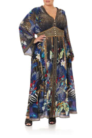 KIMONO SLEEVE DRESS WITH SHIRRING DETAIL RAINBOW ROOM