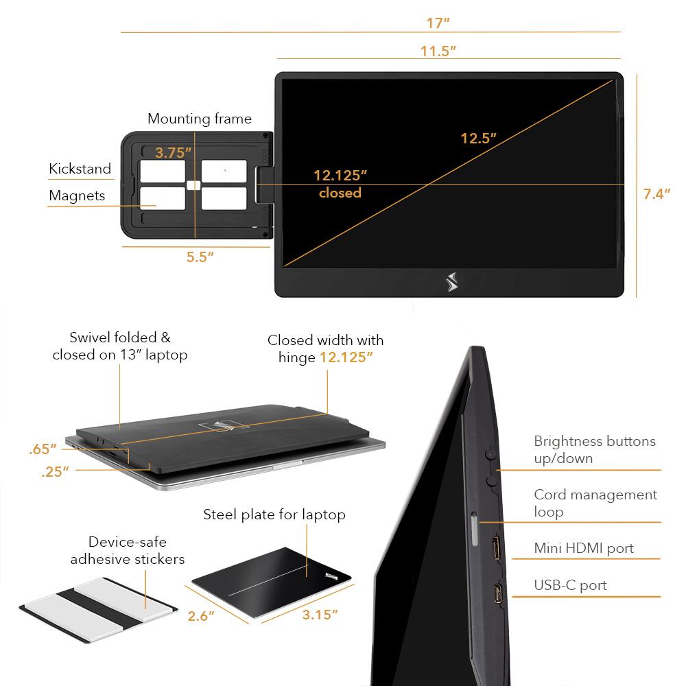 Sidetrak specs for swivel hd portable monitor 12.5