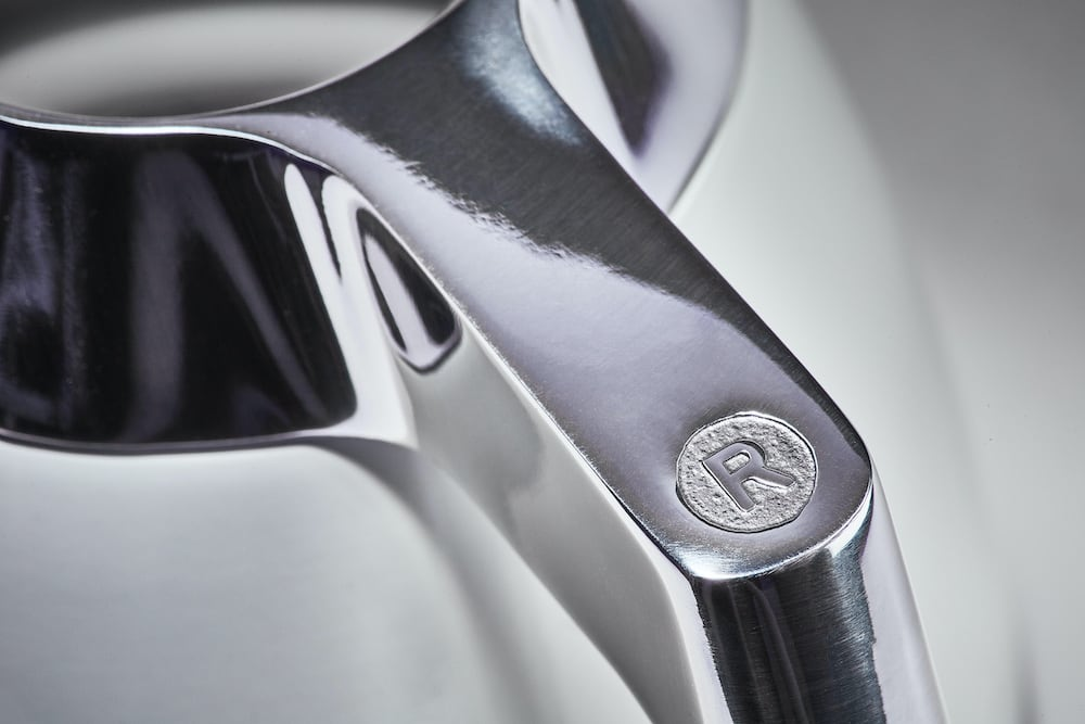 Close up of the Ratio Eight thermal carafe handle.