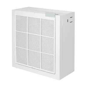 Coway Airmega 150 Dove White pre filter hanging in front of the product