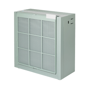 Coway Airmega 150 Sage Green pre filter hanging in front of product