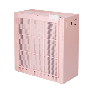 Coway Airmega 150 Peony Pink pre filter hanging from the product