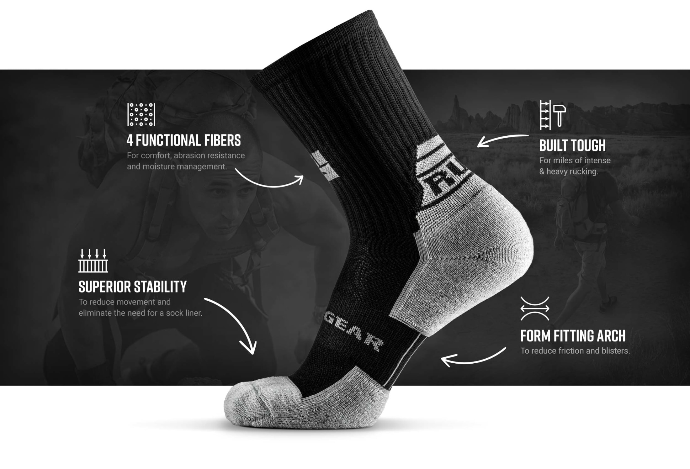 Infographic of MudGear Ruck Sock (Black/Gray)