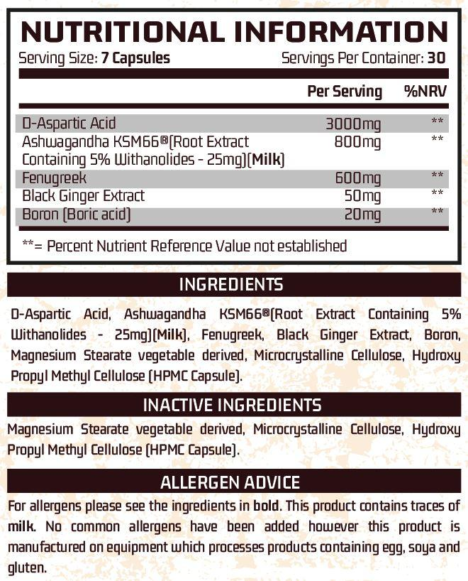 Chemical Advanced - Male Support (30 Servings) ingredients