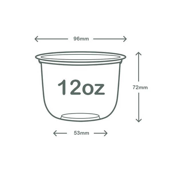 12oz (360ml) PLA Bella Pot - clear - 96 series
