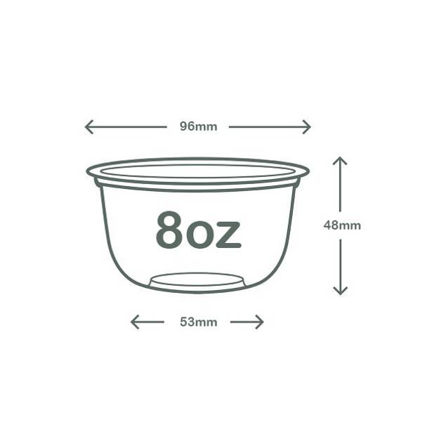 8oz (250ml) PLA Bella Pot - clear - 96 series