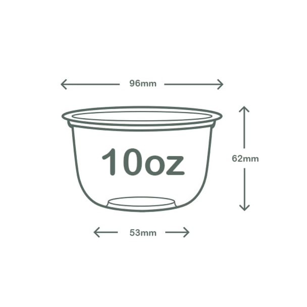 10oz (300ml) PLA Bella Pot - clear - 96 series