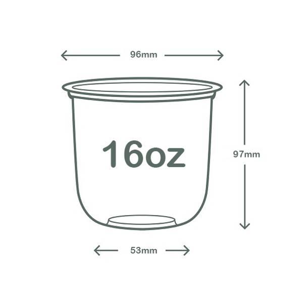 16oz (500ml) PLA Bella Pot - clear - 96 series