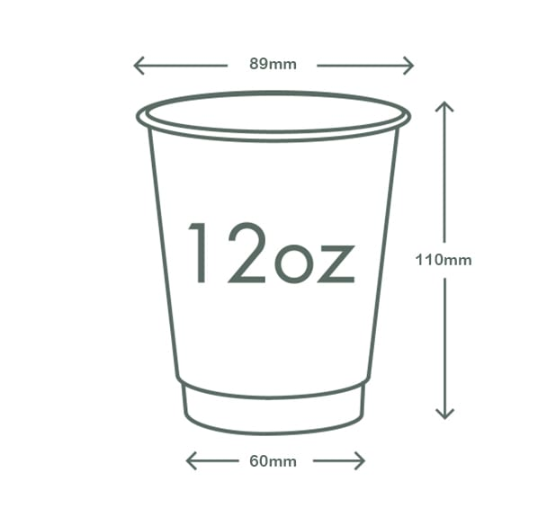 12oz (360ml) Gallery Premium Double Wall Coffee Cup - 89 series