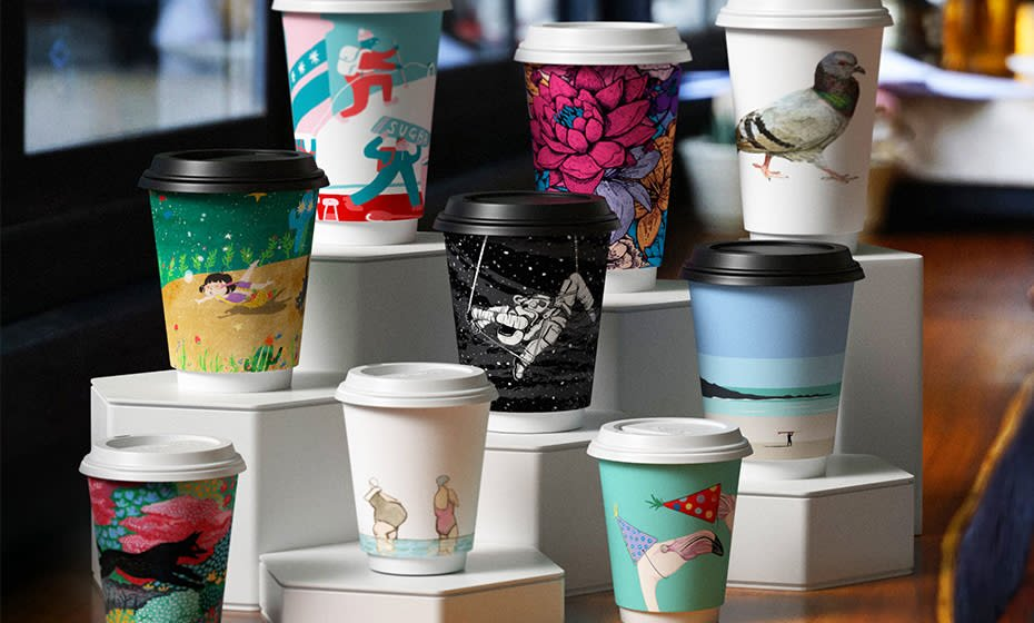 16oz (500ml) Gallery Premium Double Wall Coffee Cup - 89 series