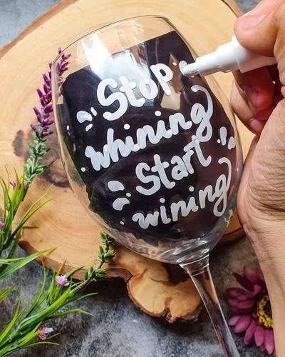 Customize A Wine Glass Using Chalkola Chalk Pens